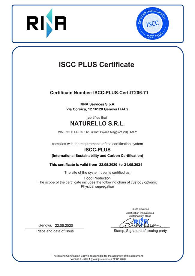 Certificazione ISCC Plus