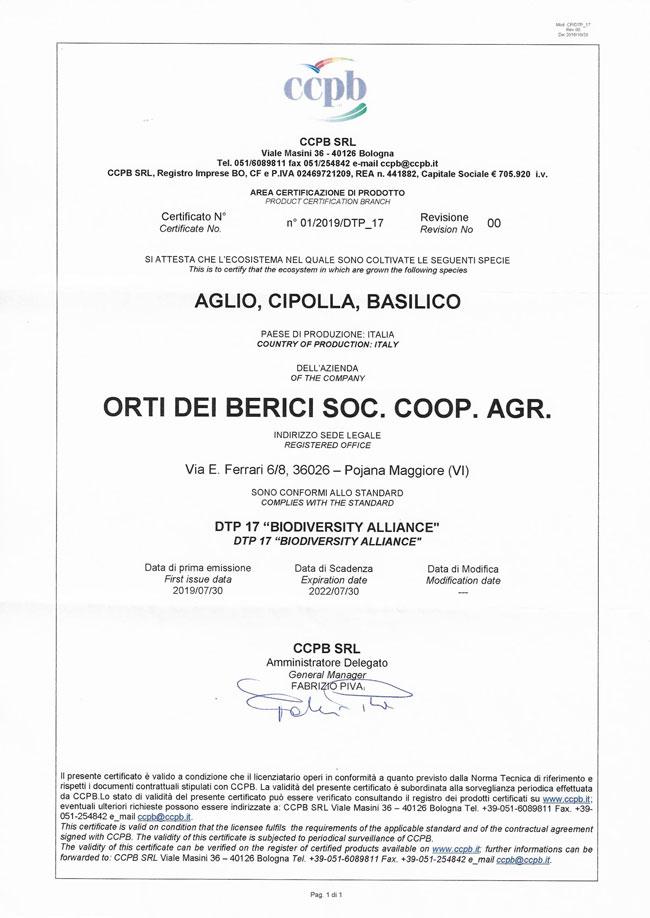 Certificazione Biodiversity Alliance