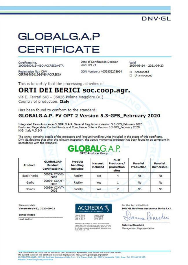 Certificazione Global G.A.P.