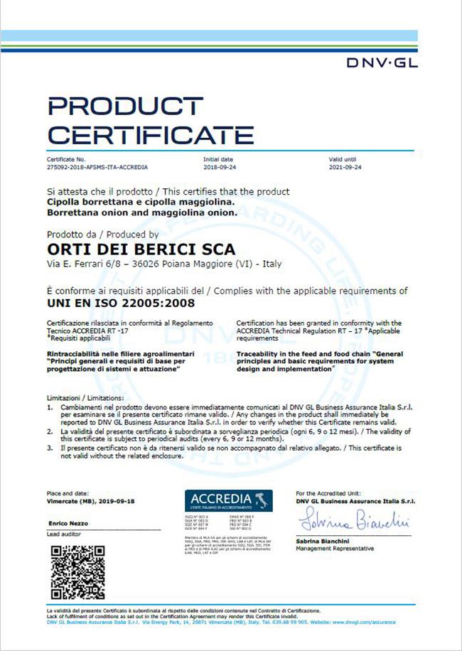 ISO 22005 Rintracciabilità di filiera